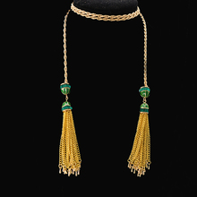 2016 Women's green rhinestone long necklace metal chain tassel gems necklace punk rock pendant necklace fine jewelry gift party(China (Mainland))
