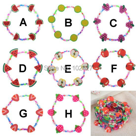 1PC High Quality Assorted Colors DIY Fruit Polymer Clay Bracelets Children Kids Clear Beads Stretch Bracelets(China (Mainland))