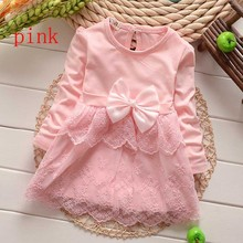 Good quality Baby dress Casual Girls Top Kids Lace Bow Princess Long Sleeve Dresses toddlers Clothes More 20 styles(China (Mainland))