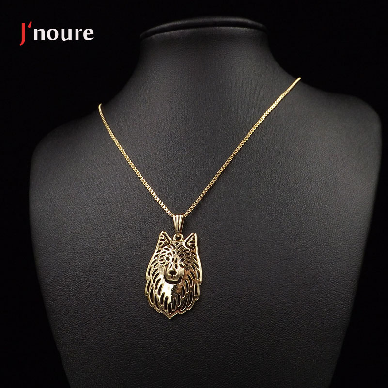 2016 Hot Sale Wolf gold Plating For Pet Lovers Dog Animal necklace&pendant Gift For Women Drop Shipping A146G(China (Mainland))