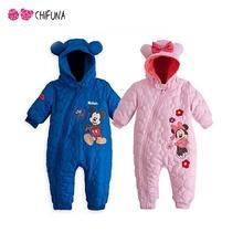 7-24M Baby Rompers 2016 Winter Overalls Coveralls Cows Jumpsuit Hat Warm Animals Kids Foot Warm Thick Baby Clothes(China (Mainland))