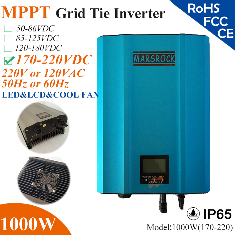 1000W MPPT solar Grid Tie Micro Inverter with IP65,170-220VDC,220V(190-260VAC) or 120V(90-140VAC),LED&LCD for solar panel system(China (Mainland))
