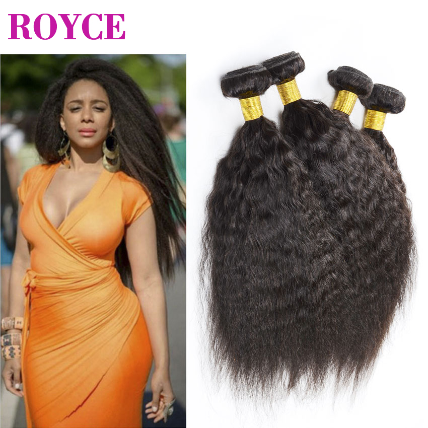 Brazilian Kinky Straight Hair 4 Bundles Brazilian Virgin Hair Straight Weave Coarse Yaki Virgin Hair Yaki Human Hair Distributor