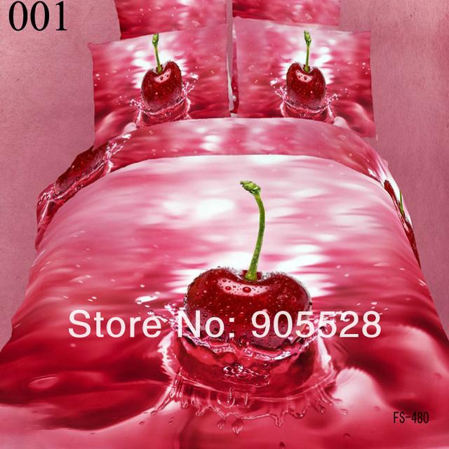 2013 100% quality luxury Fruit 3d personality fashion 100% cotton reactive print bedding 4pcs queen king duvet cover set