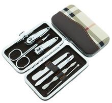 7pcs/Set Nail Clipper Kit Nail Tools Nail Care Scissor Tweezer Knife Ear pick Manicure Set Tools+Stone Pattern/grid Case(China (Mainland))