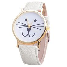 10mm to 19mm Womans Watch Cat face pattern Leather Band Analog Quartz Vogue Wrist Watches
