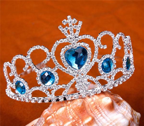 Hot Sale Aqua Love Heart Crowns Princess Rhinestones Pageant Tiara Crown KC008(China (Mainland))