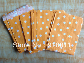 Orange Polka Dot Paper Favor Bags,MEDIUM Goodie Bags,Paper Treat Bags,Bitty Bags,Food Safe Packaging 200pcs/lot Free Shipping