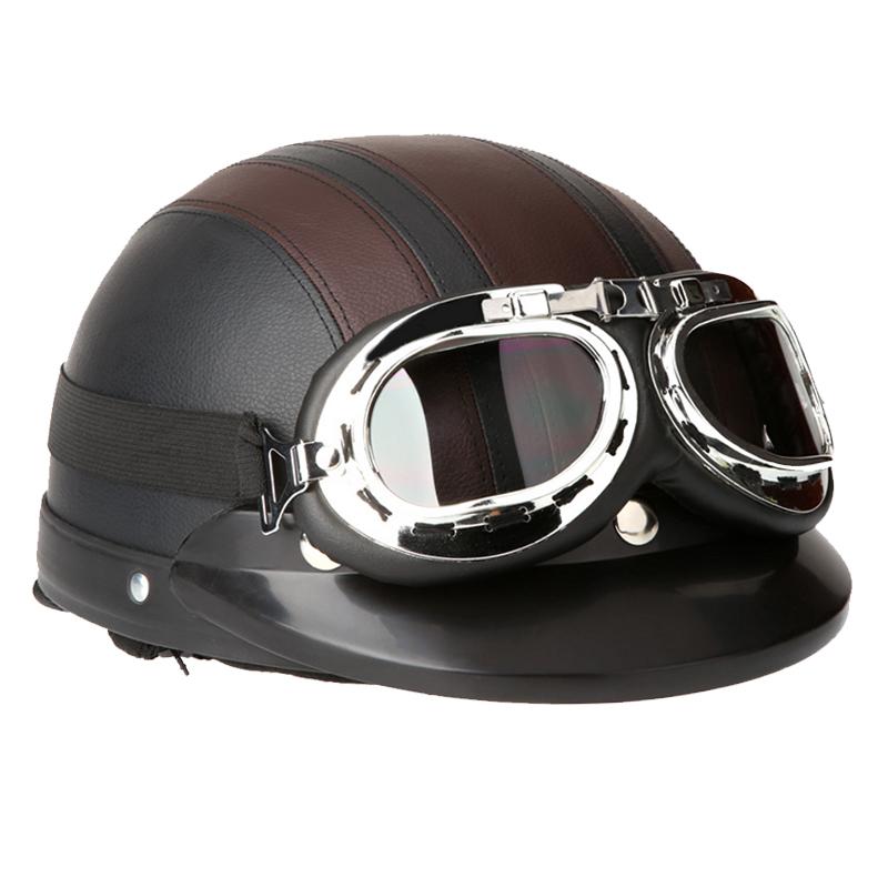 Brand New Motorcycle Scooter Open Face Half Leather Helmet or Visor UV Goggles Retro Vintage Style 54-60cm Men/Women Helmet(China (Mainland))