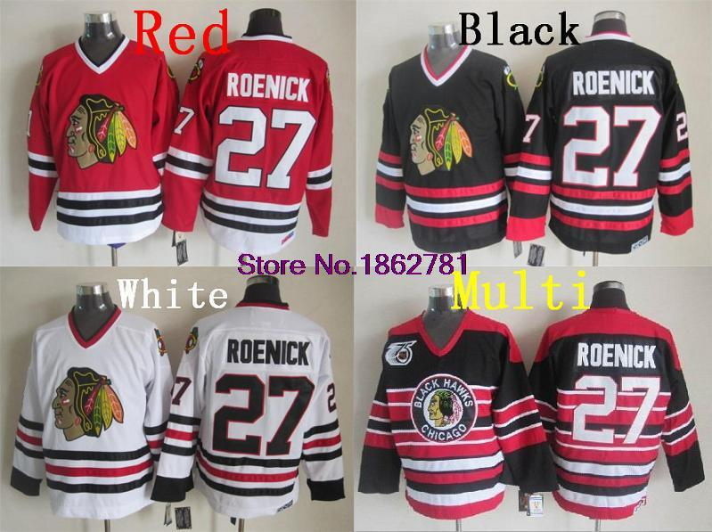 Jeremy Roenick Jersey, #27 Chicago Blackhawks 75th Anniversary/ Black/Red/White Vintage Jerseys