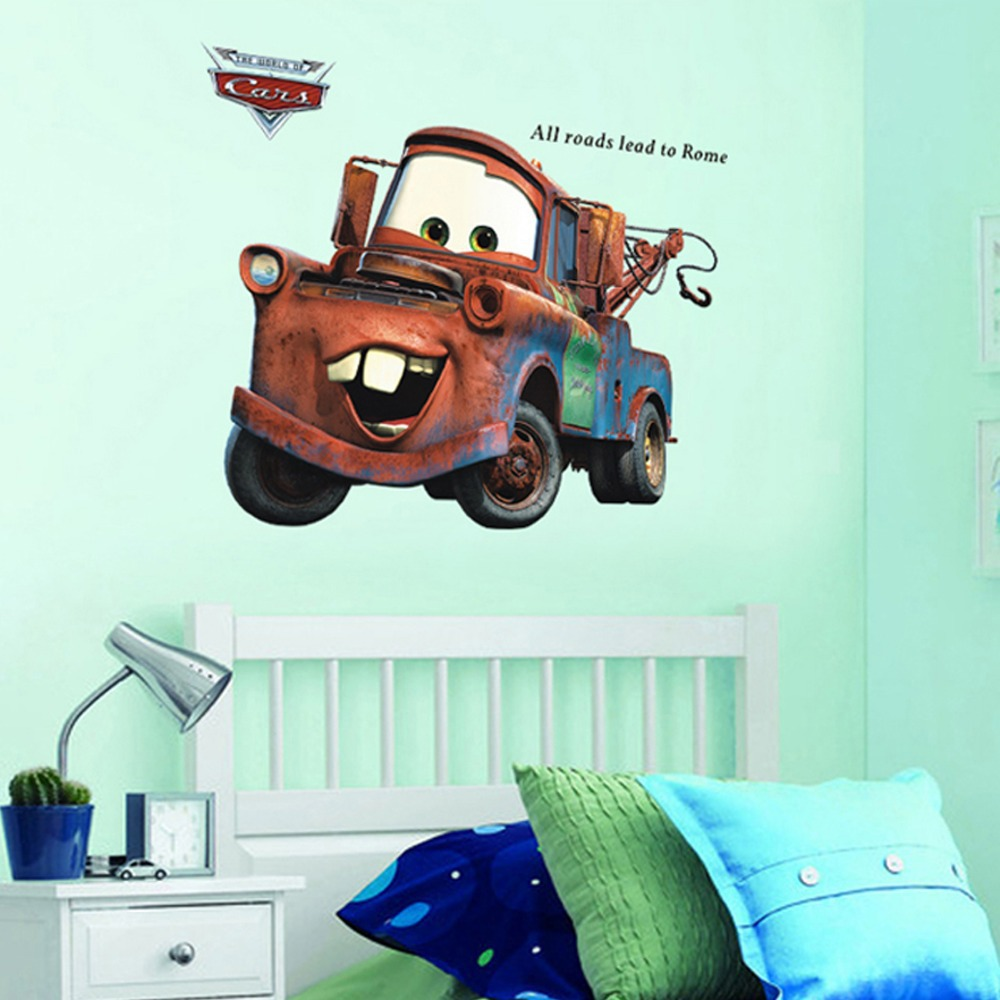 3d cartoon Pixar Cars Mater wall stickers for kids room all roads lead to Rome appointment stickers home wall decor 86cm * 65cm(China (Mainland))