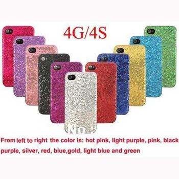 PROMOTION Glitter Bling Bling Shining Plastic Hard Back Case Cover for Apple iphone 4 4S 4G Accessories for Cell Phone Low Price