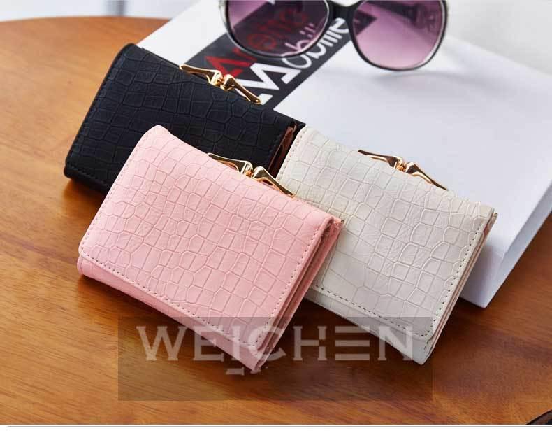 HTB1Me6JPVXXXXbSXFXXq6xXFXXXI - WEICHEN 2017 New Crocodile Pattern PU Leather Women Short Wallet Fresh Style Lady Girls Notecase Female Purse With Coin Pocket