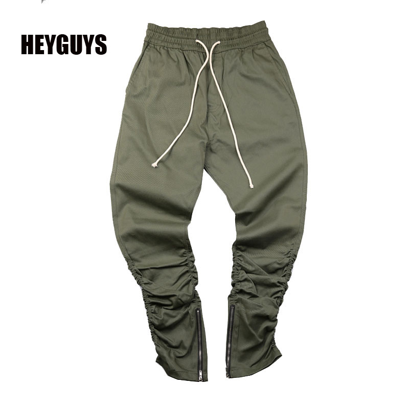 HEYGUYS army Pants Casual Skinny Zipper botton Sweatpants Solid Hip Hop Sport Trousers Jogging Pants Men Joggers Slimming pants(China (Mainland))