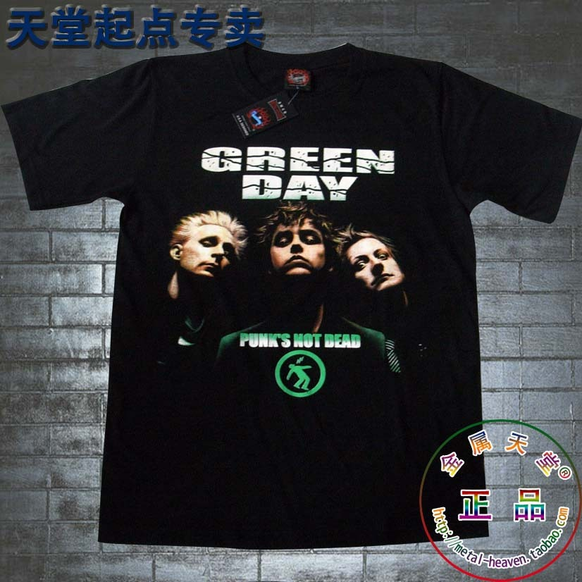 T-shirt o-neck black personality 100% cotton punk band green day shirt 3d rock style tee summer men's tops very cool(China (Mainland))