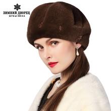 Women Winter Rabbit fur hat, fashion design, leather Rabbit, hat mosaic brick, Rex warm winter hats, fashionable women round cap(China (Mainland))