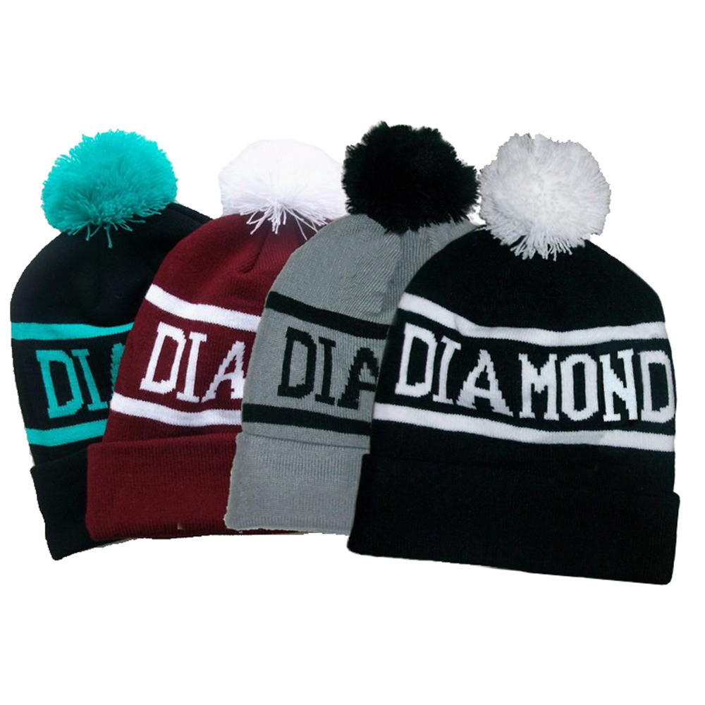 Diamond Supply Co Beanie Hat Popular Skullies Beanies Men And Women Winter Knit Letter Cap 4 Colors Free Shipping SW44(China (Mainland))