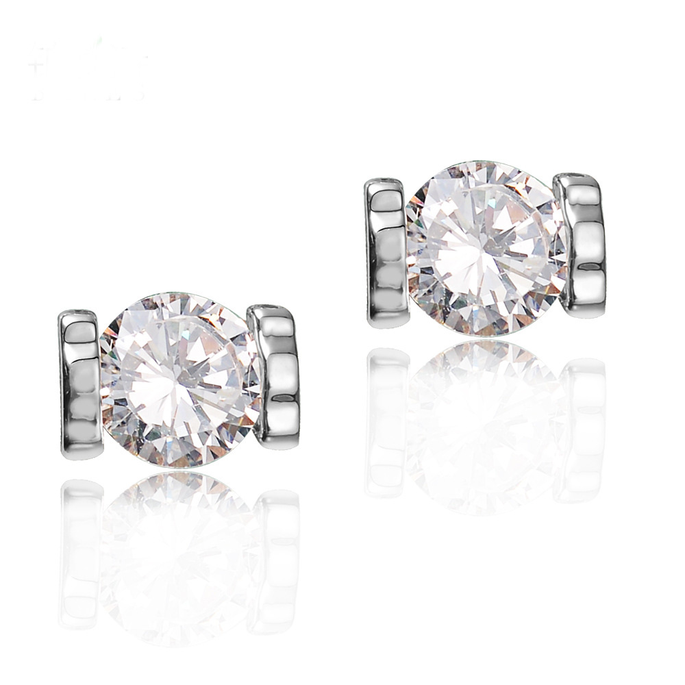 Korean Simple Double Cute Bear Design Big Round CZ Diamond Hollow Solid Stud Earrings for Women Girl Piercing Jewelry(China (Mainland))