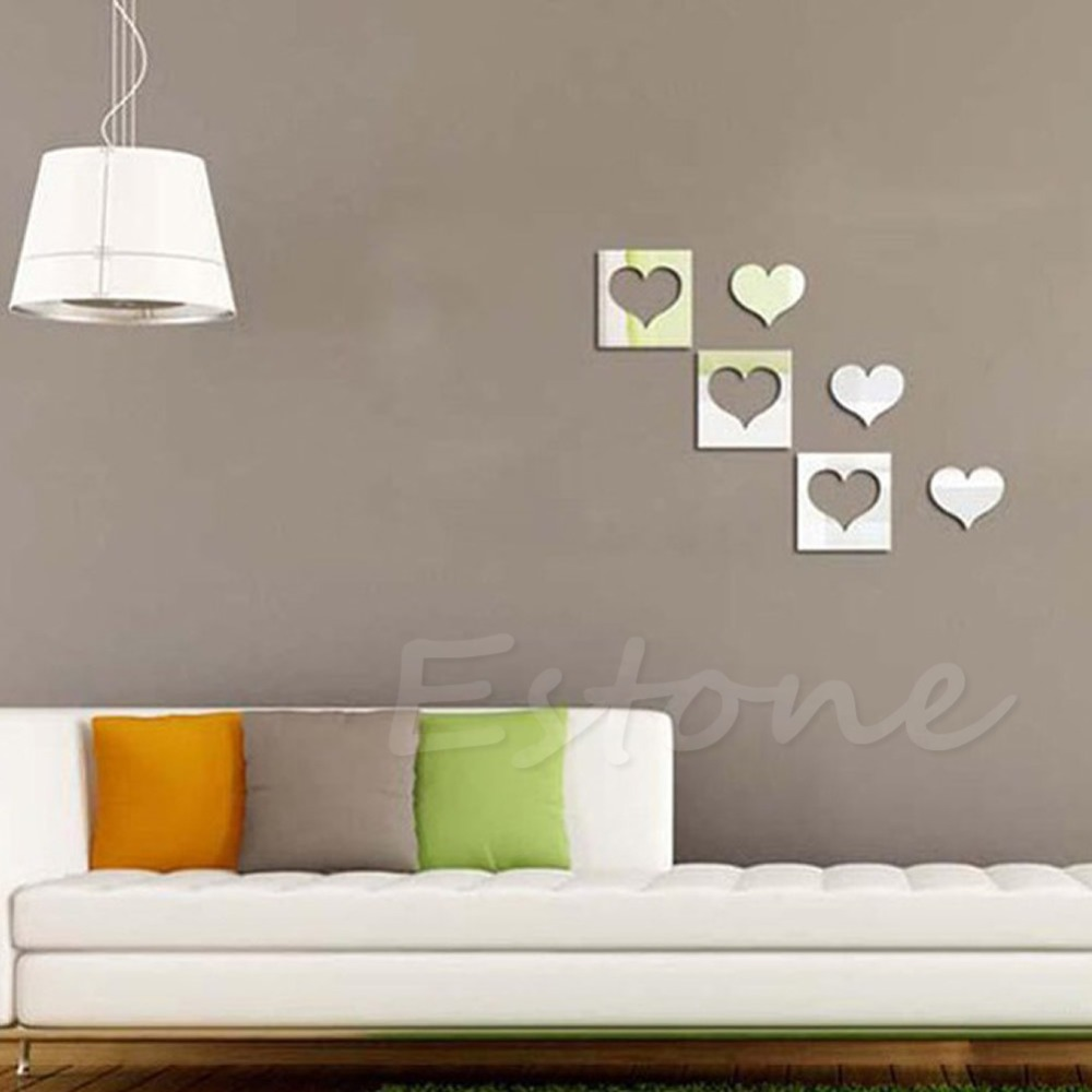 Fashion Hearts Mirror Style Removable Decal Vinyl Art Wall