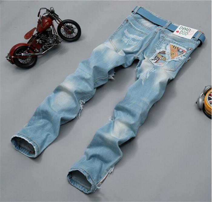 Light Blue perfumes 100 original Hip Hop Brand Men Jeans Slim Skinny Jeans for Men(China (Mainland))