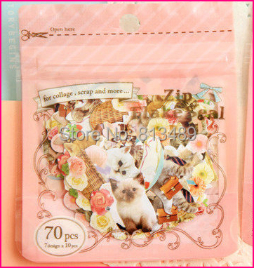 free ship 70pcs/pack Kitty Stickers for collage decor notes scrapbooking Diy crafts Diary Card Handmade Stationery Multif S3092<br><br>Aliexpress