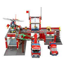 Building Blocks toys 774pcs/set City Fire Station Truck Helicopter Firefighter Minifigure Bricks boys Toys brinquedo educativo