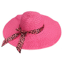 New Arrival Fashion Women Sun Hat Candy Color Straw Hat Wide Large Brim Floppy Summer Beach Cap with Leopard Ribbon Rose(China (Mainland))