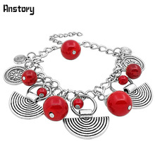 Vintage Look Tibetan Alloy Antique Silver Plated Assorted Pendant Red Turquoise Bracelet TB142(China (Mainland))