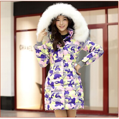 Фотография free shipping 2014 new winter women down coat jacket hooded faux fur long thick plus size camouflage coats fashion parka RY266