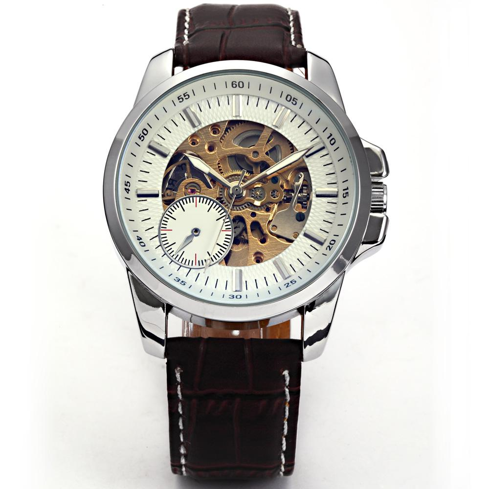 Hot Sale 2016 Valentines Gift Fashion&amp;Casual Relogio Masculino Esportivo Coffee Leather Hollow Automatic Watch Free Shipping<br><br>Aliexpress