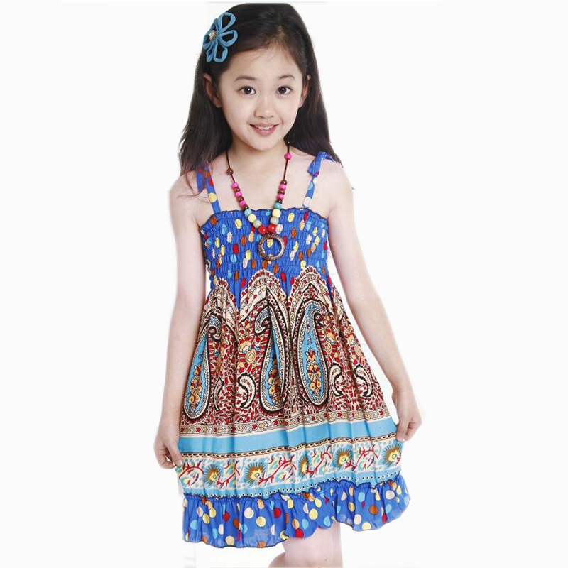 Suspender Summer Bohemian Style Beach Girl Dress 2016 New 2-7T Dress For Girls Fashion Girls Dresses Sundress With Necklace New(China (Mainland))
