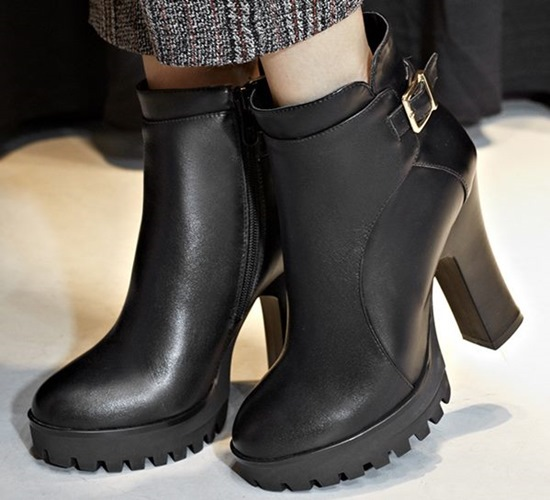 2015 buckle women Full Grain Leather ankle boots platforms Strange Style shoes round toe Spike high heeled Motorcycle boots<br><br>Aliexpress