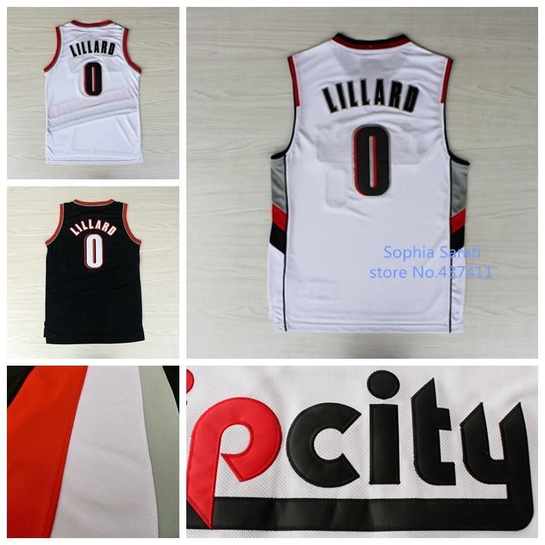 6ac785b2a Damian Lillard Jersey Portland 0 Damian Lillard White Black Rip City Cheap Basketball  Jerseys Embroidery Lgos