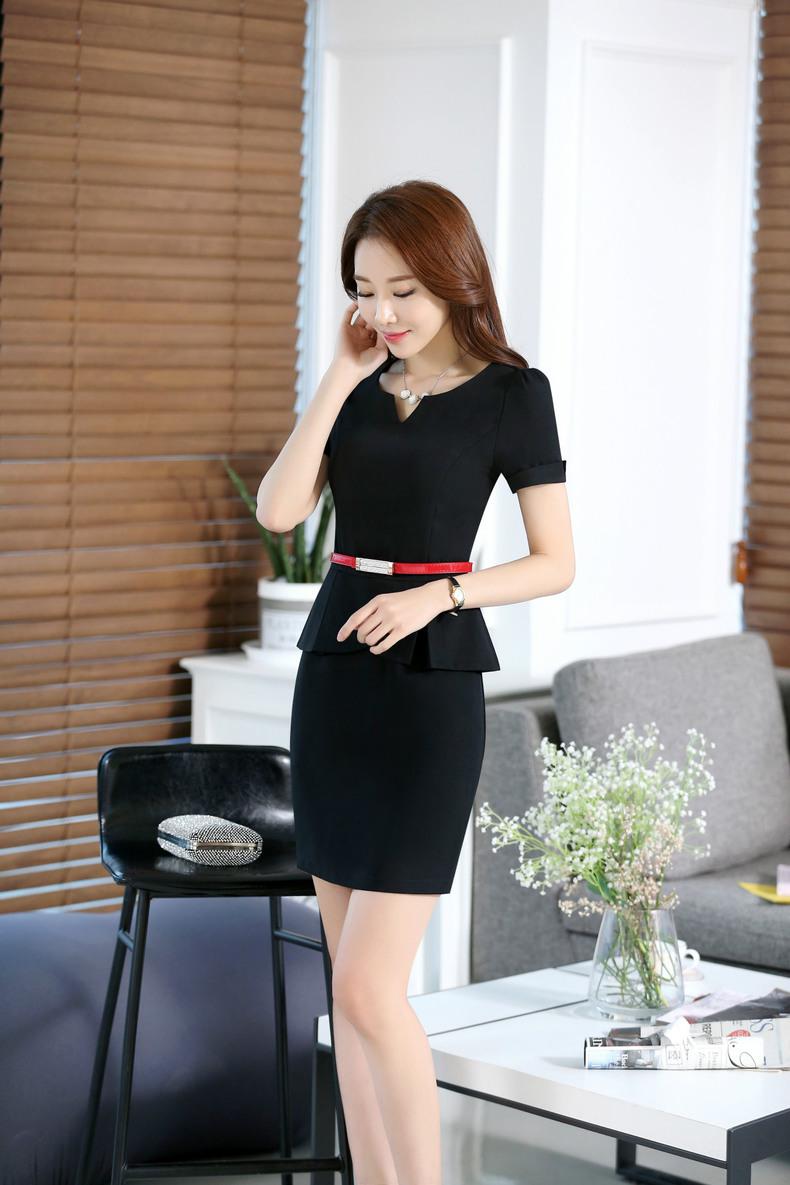 2016 Plus Size Jewelry Beautician Shop Occupation Dress Short Sleeve Sashes Zipper V-neck Overalls Work Uniforms Women One Piece