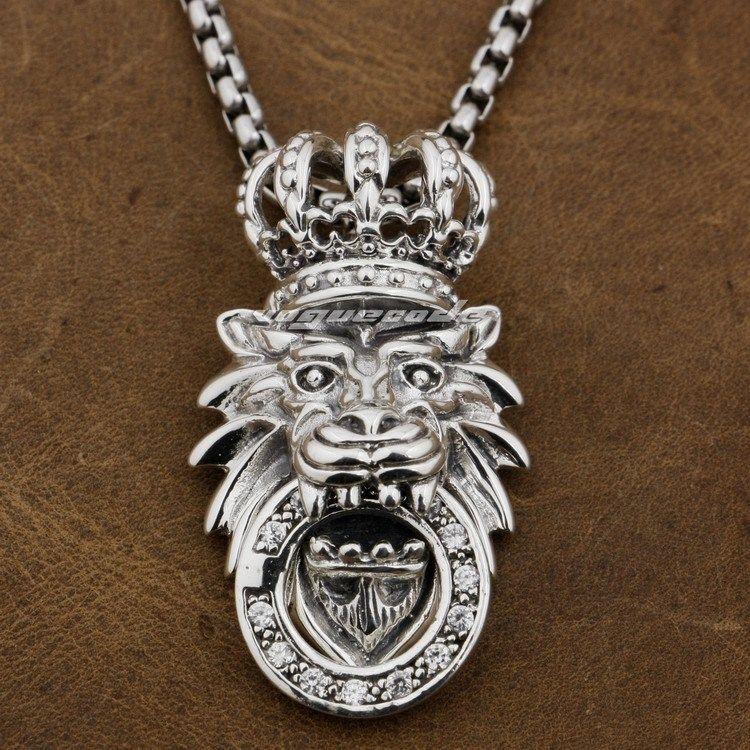 925 Sterling Silver White CZ King Lion Crown Mens Biker Pendant 8P026(Necklace 24inch)<br><br>Aliexpress