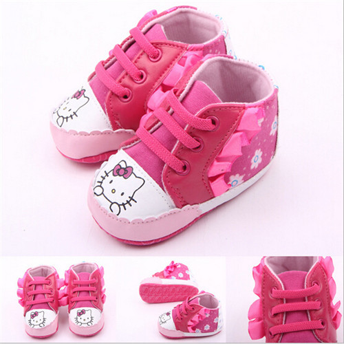 2015 Lovely Cartoon Hello Kitty Baby Shoes Soft Sole Lace-Up Newborn Shoes First walkers Freeshipping<br><br>Aliexpress