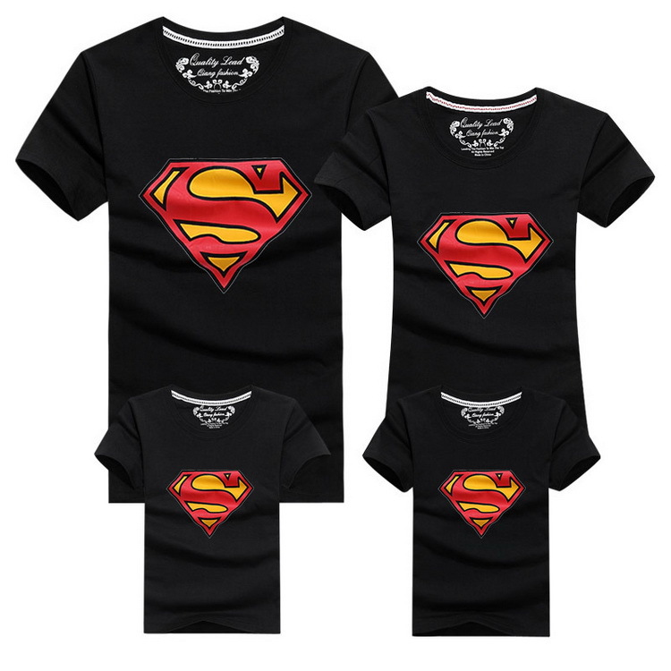 2015 New Family Look Superman T Shirts 9 Colors Summer Family Matching Clothes Mom &amp; Dad &amp; Son &amp; Daughter Cartoon Outfits, HC311<br><br>Aliexpress