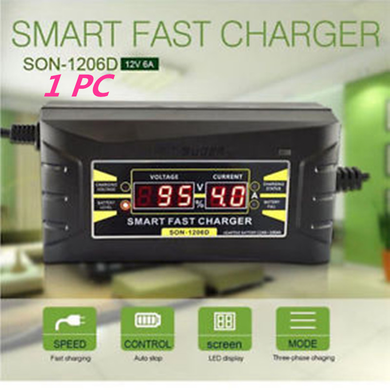 Full Automatic Car Battery Charger 110V/220V To 12V 6A Smart Fast Power Charging For Wet Dry Lead Acid Digital LCD Display(China (Mainland))