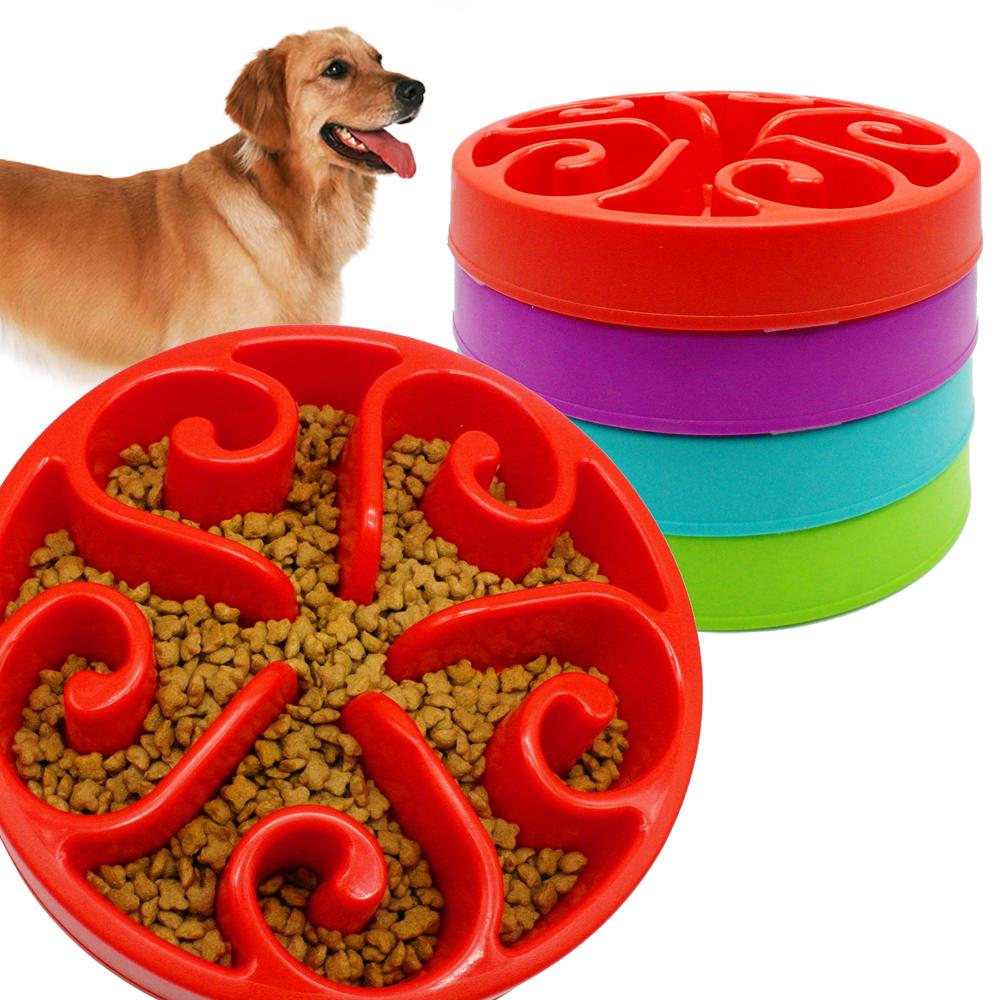 Anti -Glulping Plastic Dog Slow Feeding Bowl Pet Water Drinking Dish Non Slip 4 Colors Avaliable For Medium Dogs(China (Mainland))