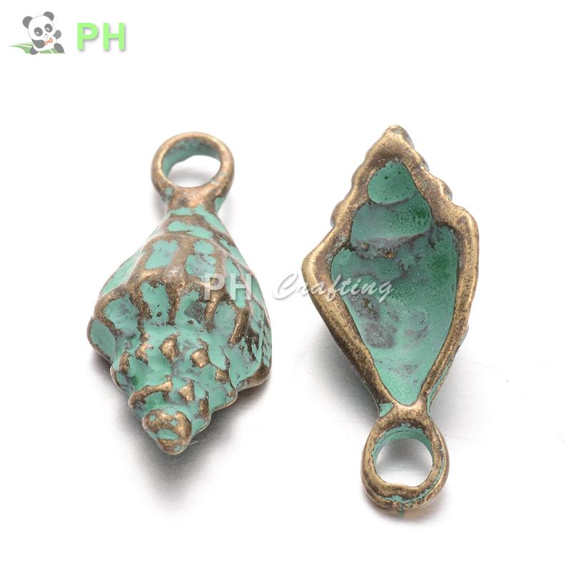 Antique Bronze Green Alloy Conch Shell Pendants Charms Fit DIY Necklace Bracelet Earrings Jewelry Making Accessories 19x8.5x5mm(China (Mainland))