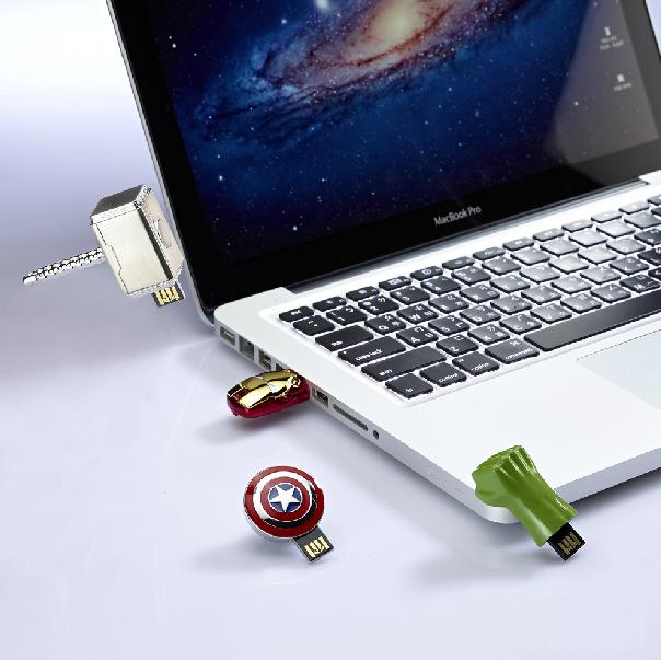 100% Real 16GB 32GB Avengers  LED Shine Iron man Thor hammer Hulk hand Metal USB flash drive memory stick(China (Mainland))