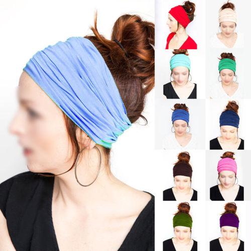 Hot Sell Women's Wide Stretch Sports Yoga Headband Turban Elastic Hair Band Headwrap(China (Mainland))