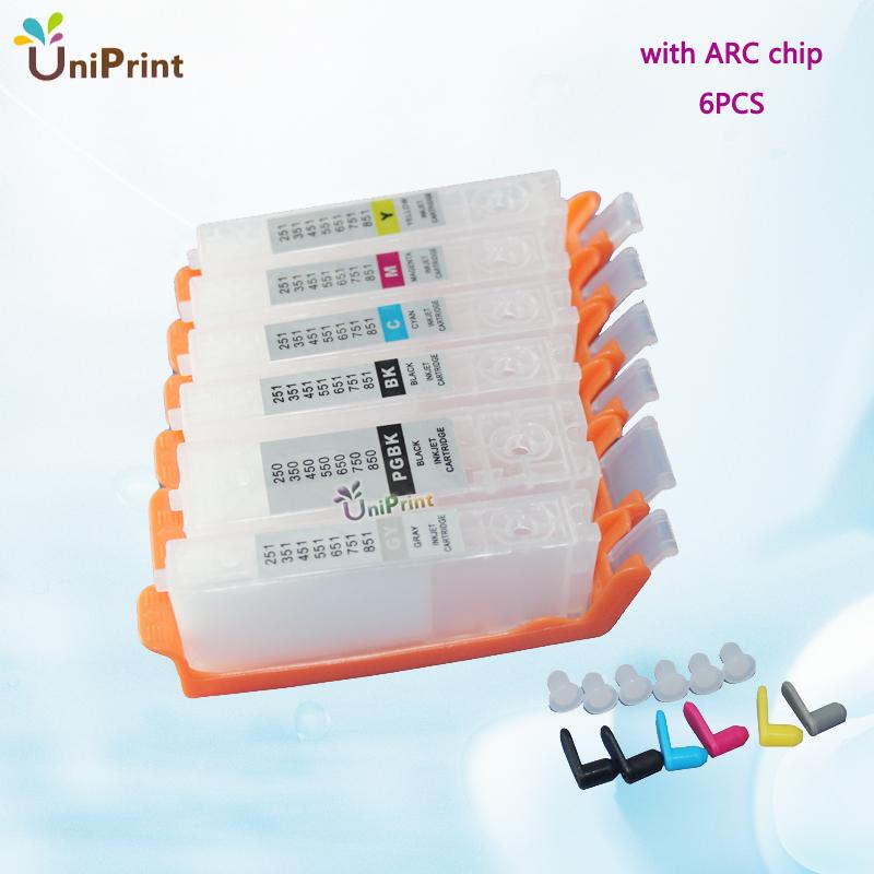 6 шт. pgi-250pgbk cli-251bk mcm y gy для канона mg6320 mg7120 mg7520 ip8720 многоразового картридж с чипом арк pgi250