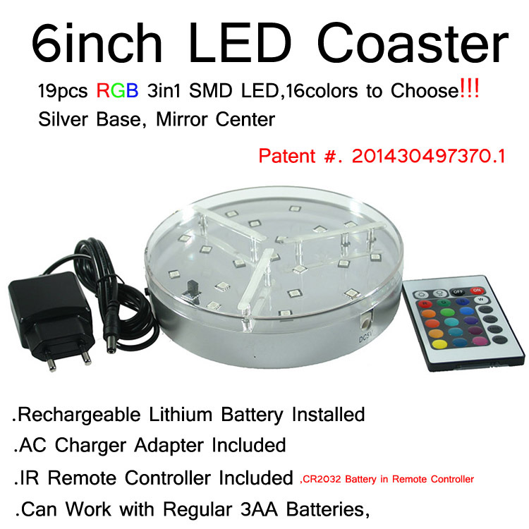 6inch Vase LED Light Base Rechargeable Lithium Battery + Remote Controller 3AA Operated 19 Multicolors SMD - store
