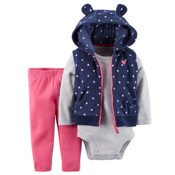 New Brand 3 Pieces Baby Girl's Set Cartoon Zipper Sleeveless Cotton Warm Cute Polka Dot Vest +Full Sleeve O-Neck Romper+Pants