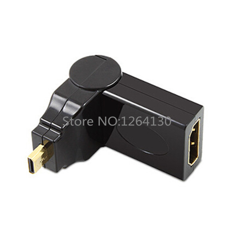 Micro HDMI Male To HDMI Female 180/360 Degree Rotating 90 Right Angle Adapter Convertor Cable for ASUS Tablet PC and Other(China (Mainland))