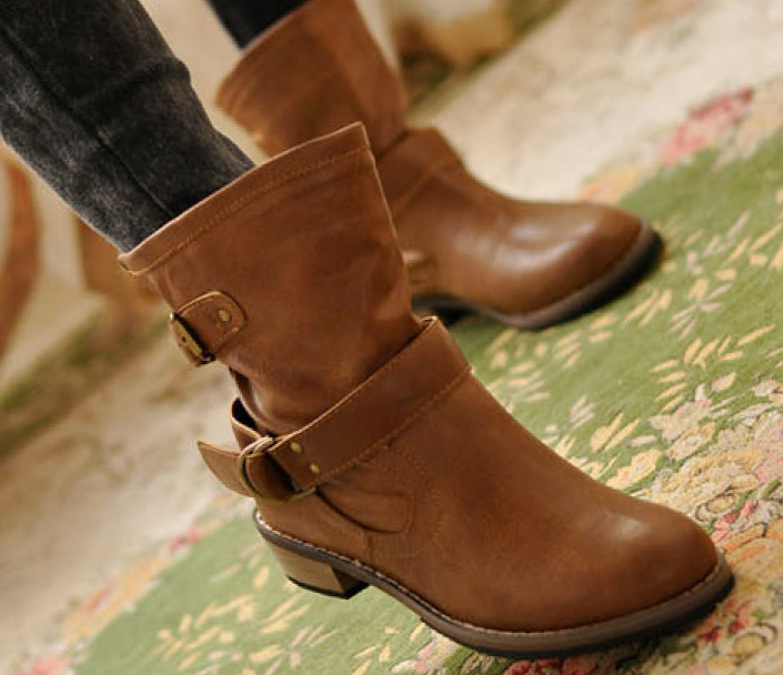 Huidong factory of western style belt buckle Vintage British boots Martin boots a flat with low