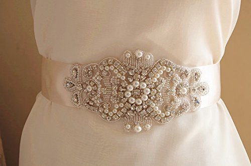 Buy rhinestone appliqued pearls and for Wedding dresses with pearls and diamonds