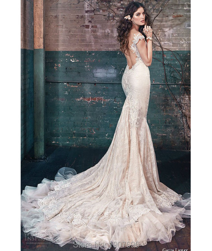 Stunning Beaded Crystal Mermaid Wedding Dresses 2016 with Cap Sleeves Chapel Train Sheer Neckline Plus Size Backless Bridal Gown(China (Mainland))