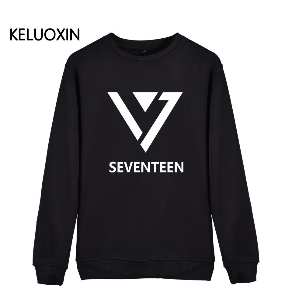 New Seventeen 17 Kpop Latter Print Hoodies For Men Women Unisex Plus Size JEONGHAN VERNON WOOZ Sweatshirt Fans Streetwear(China (Mainland))